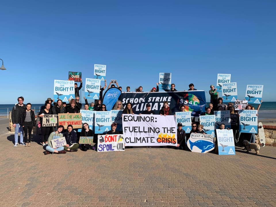 Action at Brighton beach as part of the Fight for the Bight campaign